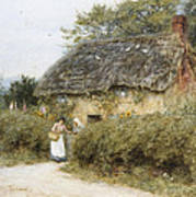 A Thatched Cottage Near Peaslake Surrey Art Print