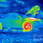 A Thermogram Of A Man Working On A Car Art Print