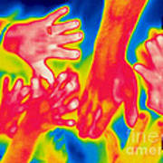 A Thermogram Of A Pile Of Human Hands Art Print