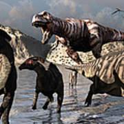 A Tyrannosaurus Rex Moves Art Print by Mark Stevenson
