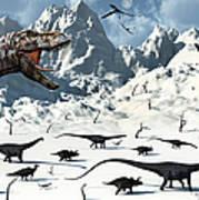 A  Tyrannosaurus Rex Stalks A Mixed Art Print