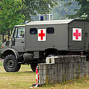 A Unimog In An Ambulance Version In Use Art Print by Luc De Jaeger