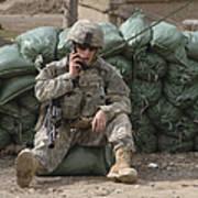 A U.s. Army Soldier Talks On A Radio Art Print
