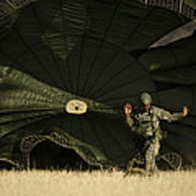 A U.s. Soldier Collapses His Parachute Art Print