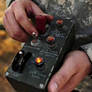 A U.s. Soldier Hits The Button Art Print by Stocktrek Images