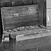 A Weathered Bench Black And White Art Print
