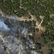 A Wildfire Burns Land Near Austin Art Print