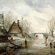 A Winter Landscape With Figures Skating Art Print