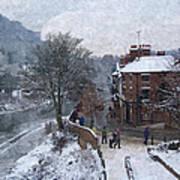 A Wintry Street Scene In Ironbridge Gorge England In Digital Oil Art Print