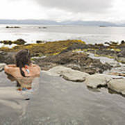 A Woman Enjoys A Hot Spring Art Print
