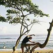 A Woman Stretches On A Beach Art Print by Skip Brown