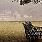 A Wrought Iron Black Metal Bench Under A Tree In The Qutub Minar Compound Art Print