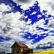 Abandoned Farmhouse In A Canola Field Art Print