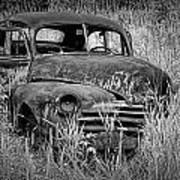 Abandoned Vintage Car Along The Roadside Art Print