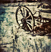 Abandoned Wagon By Old Ghost Town. Art Print