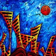 Abstract Cityscape Art Original City Painting The Lost City II By Madart Art Print