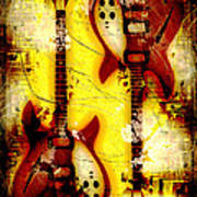 Abstract Grunge Guitars Art Print