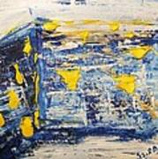 Abstract Kotel Prayer At The Western Wall Waiting For Peace In Blue Yellow Silver Jerusalem Israel  Art Print