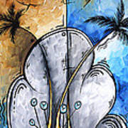 Abstract Martini Tropical Contemporary Original Painting Martini On The Beach By Madart Art Print