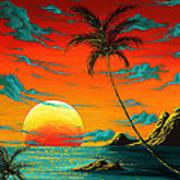 Abstract Surreal Tropical Coastal Art Original Painting Tropical Burn By Madart Art Print