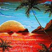 Abstract Surreal Tropical Coastal Art Original Painting Tropical Fusion By Madart Art Print