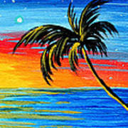 Abstract Tropical Palm Tree Painting Tropical Goodbye By Madart Art Print