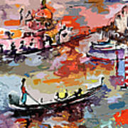 Abstract Venice Italy Gondolas Print by Ginette Callaway