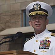 Admiral Eric Olson Speaks Print by Michael Wood