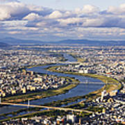 Aerial Japanese Cityscape And River Art Print by Jeremy Woodhouse