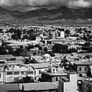 Aerial View From Southern Nicosia Over Northern Turkish Controlled Nicosia In Nicosia Lefkosia Art Print