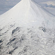 Aerial View Of Glaciated Shishaldin Art Print by Richard Roscoe