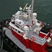 Aerial View Of Red Tug  Art Print