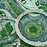 Aerial View Of Shaghai Traffic Art Print