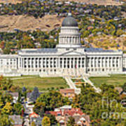 Aerial View Of Utah State Capitol Building Art Print by Gary Whitton