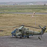 Afghan Army Soldiers Guard An Mi-35 Art Print