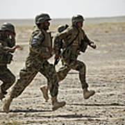 Afghan National Army Soldiers Run Art Print