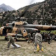 Afghan National Army Soldiers Unload Art Print