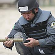 Afghan Police Student Prepares Art Print