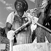 African American Construction Worker Art Print