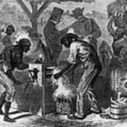 African American Slaves Using A Cotton Print by Everett