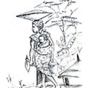 African Rural Woman Art Print