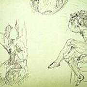 Agony And Atlas Sketch Of Him Throwing The World Onto Her As He Transforms Life Burden To Freedom Art Print