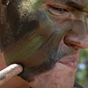 Airman Applies War Paint To His Face Art Print