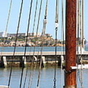 Alcatraz Island Through The Hyde Street Pier In San Francisco California . 7d14148 Art Print