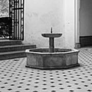 Alcazar Courtyard In Black And White Art Print