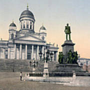 Alexander II Memorial At Senate Square In Helsinki Finland Art Print