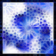 Alhambra Pattern Blue Art Print