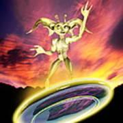Alien And Flying Disc Art Print