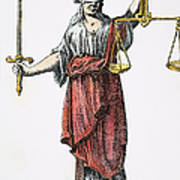 Allegory: Justice, 1726. Line Engraving (detail), German Art Print