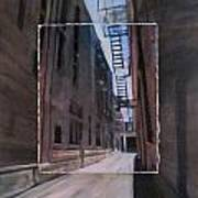 Alley With Fire Escape Layered Art Print